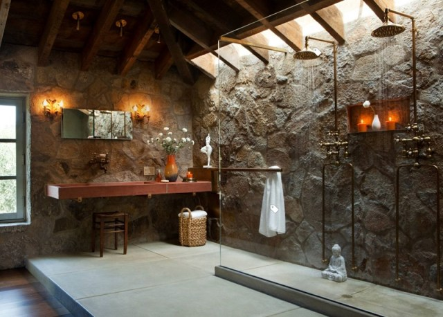 Rustic Bathroom With Raw Walls