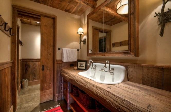 Rustic Raw Wood Countertop For Vanity