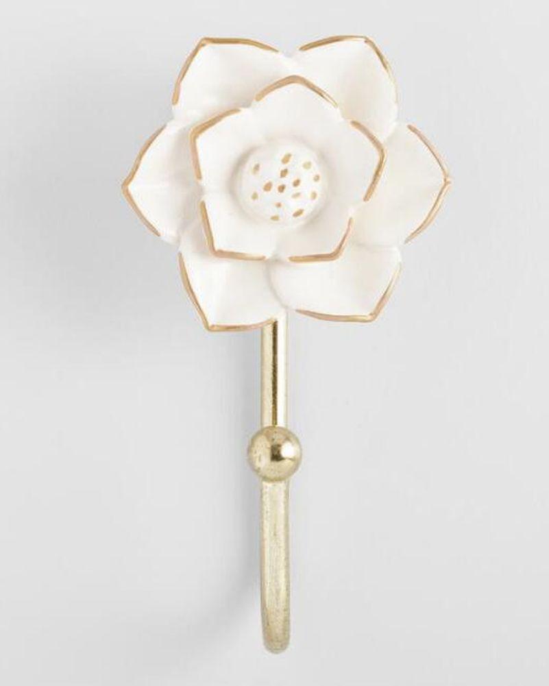 White And Gold Ceramic Flower Hook