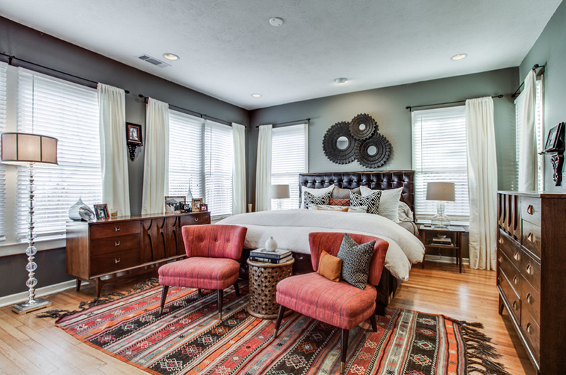 Bedroom With Pretty Drum Floor Lamp