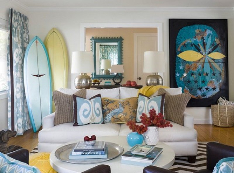 Contemporary Beach Cottage Living Room