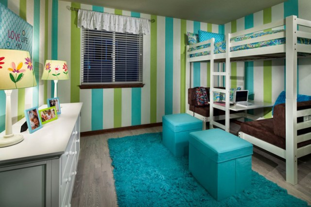Loft Bed With Striped Color Walls