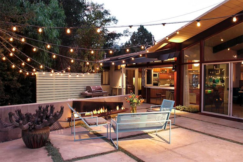 Outdoor Area With String Lights
