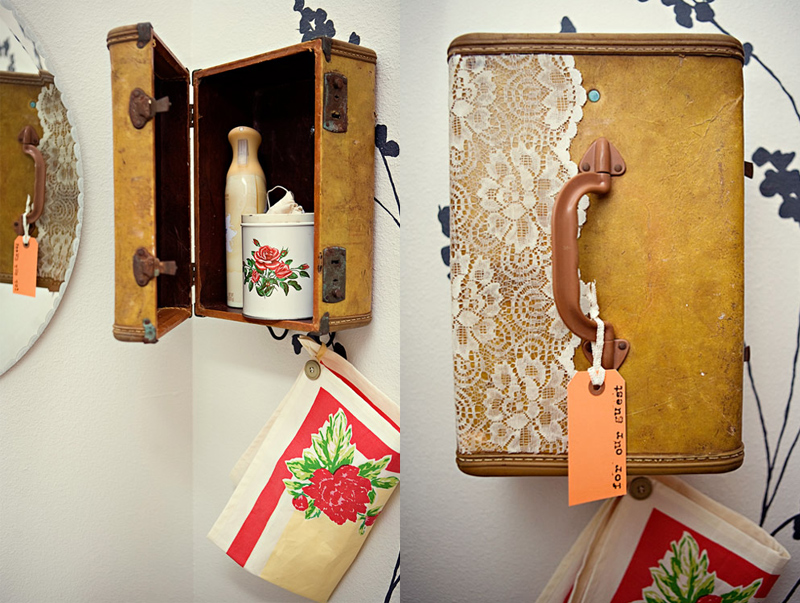 Suitcase Vanity andTowel Holder