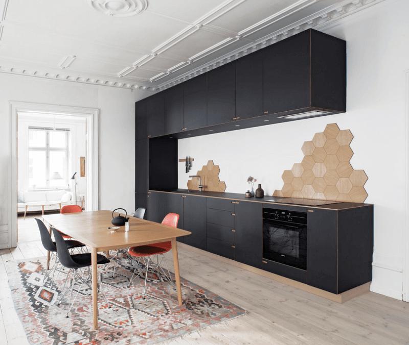 Simple One Line Black Kitchen