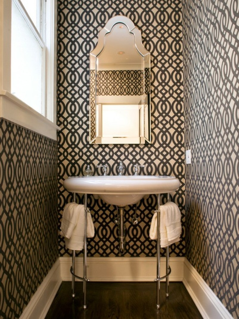 Black And White Powder Room With Style