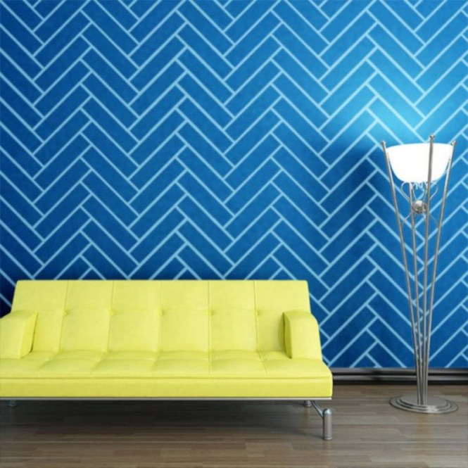 Blue Herringbone Patterned Wall