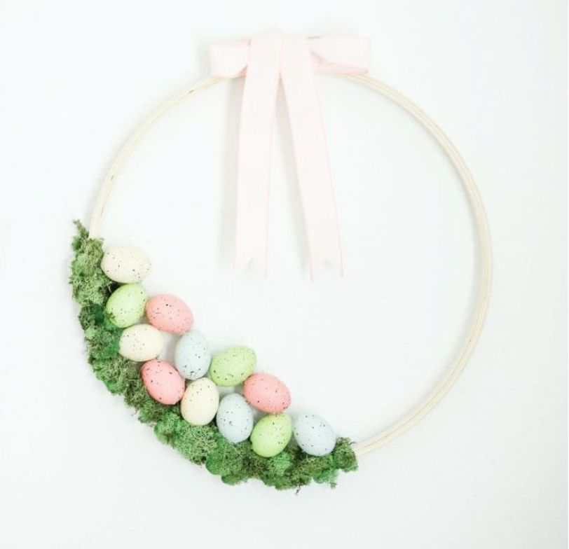 Embroidery Hoop Easter Wreath