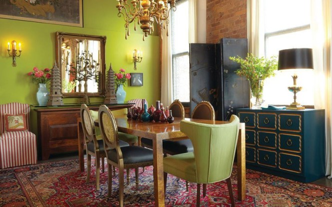 Green Bohemian Dining Room
