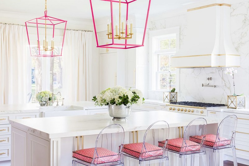 Kitchen With Pink Accessories And Fixtures