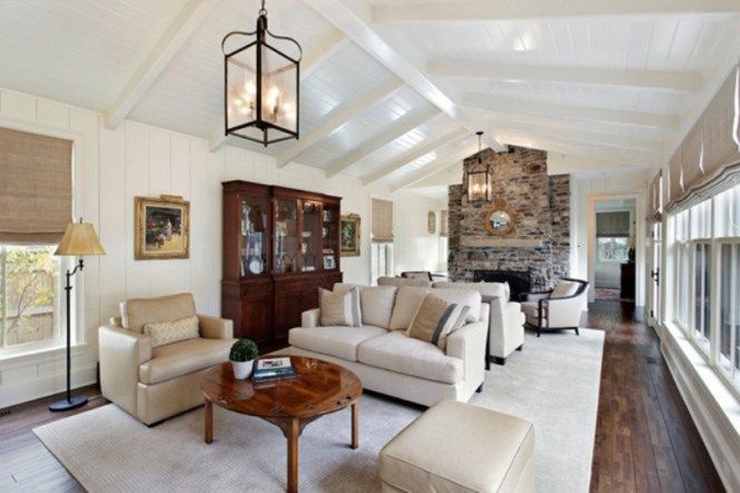 Long Living Room With Cathedral Ceiling