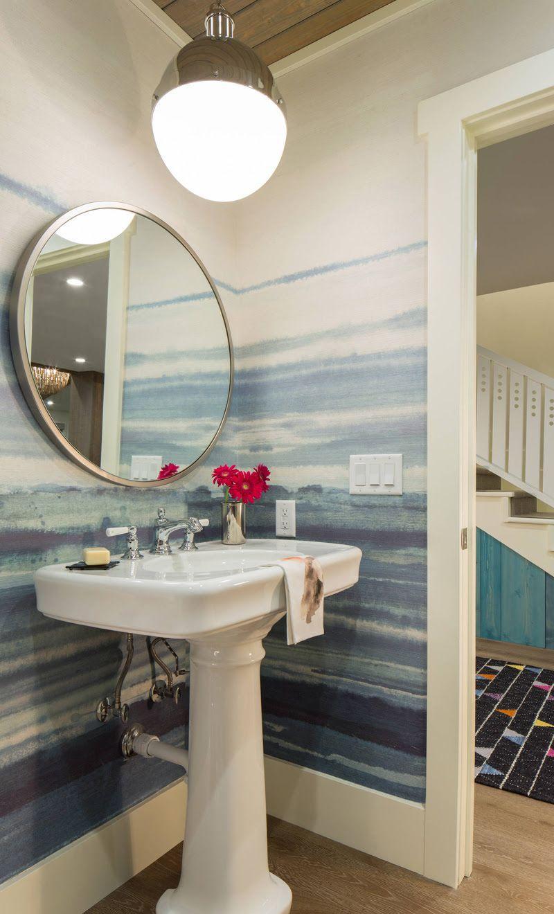 Shibori Striped Wallpaper For Bathroom