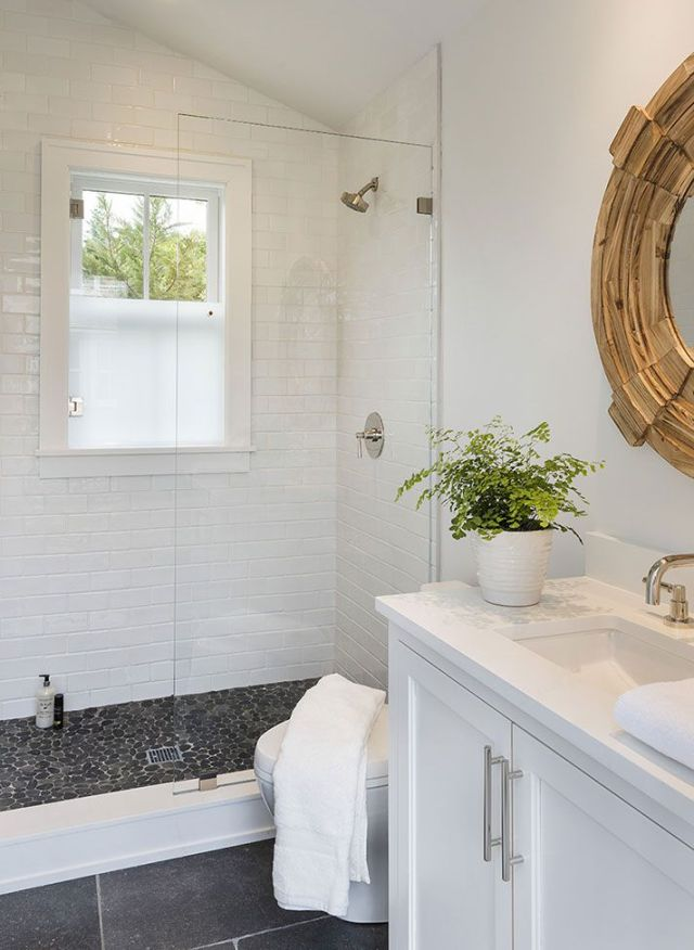 Small White Bathroom With Pebble Tile