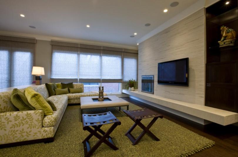 Transitional Long Living Room