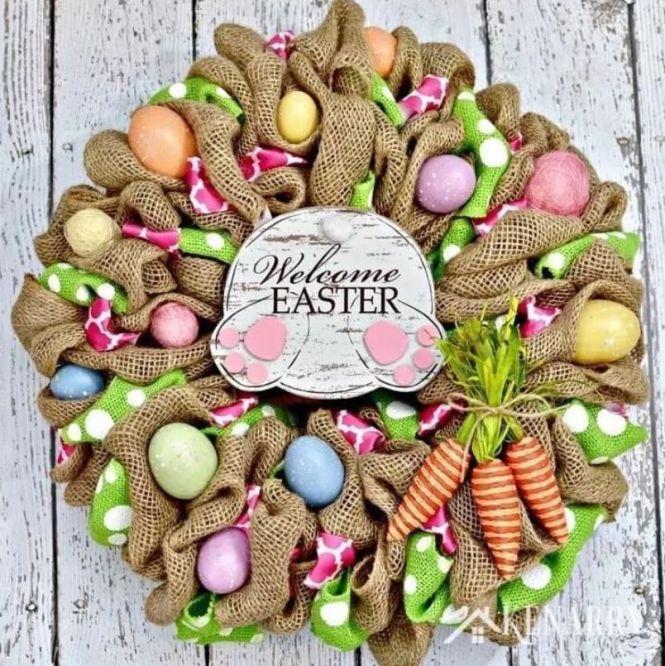 Welcome Easter Burlap Wreath