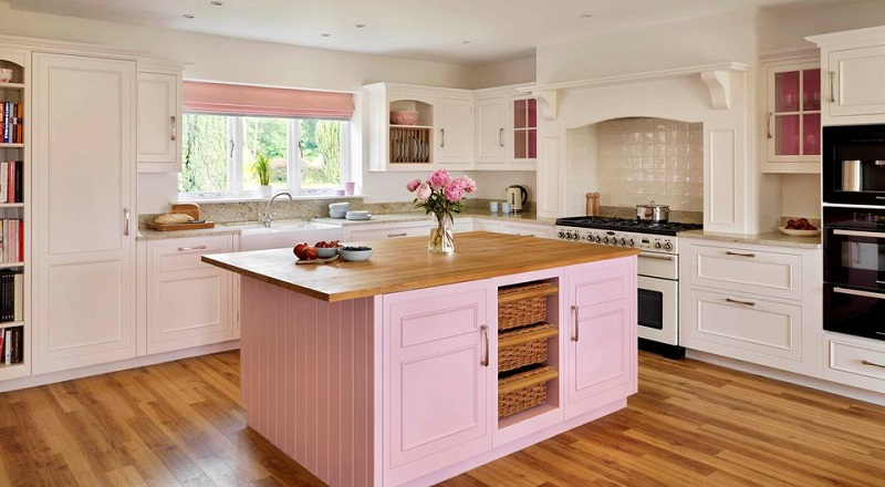 With Pink Kitchen Island