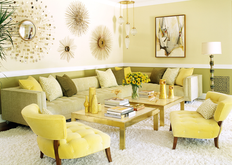 Yellow Living Room With Sunburst Mirror
