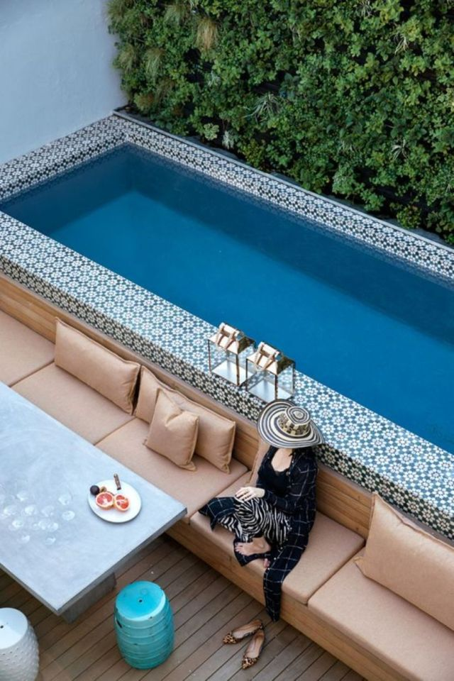 A Bold Moroccan Tile Clad Pool