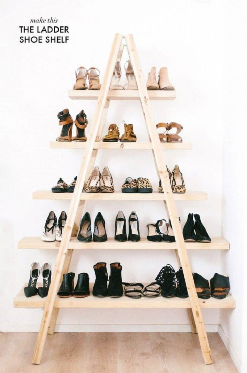 Creative Ladder Shoe Shelves