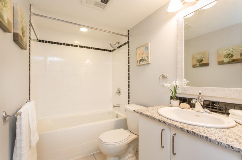 Neat And Pretty Condo Bathroom