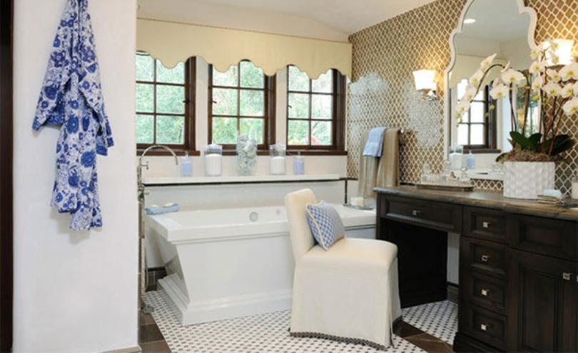 Stunning Small Mediterranean Bathroom
