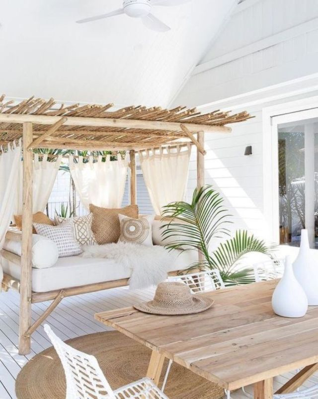 Tropical Terrace With A Wooden Table