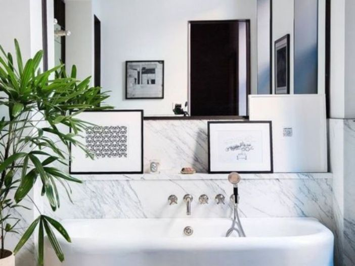 Bathroom With Off Centre Art