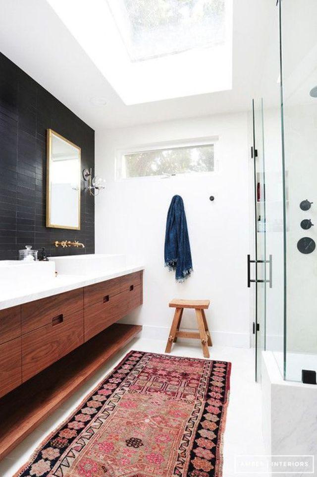 Bathroom With Matte Black Backsplash Wall