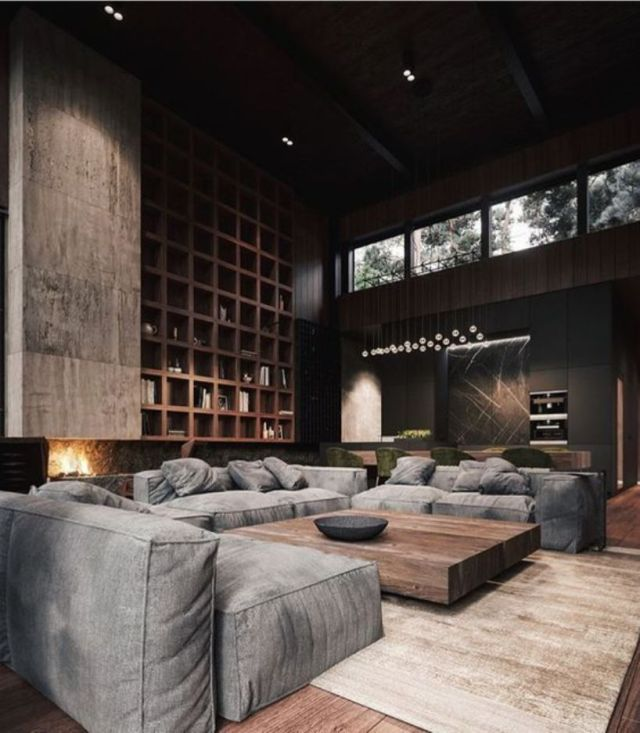 Living Room With Dark Walls