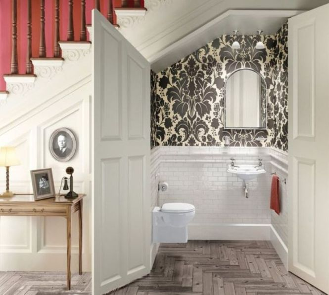 Powder Room Styled With White Tiles