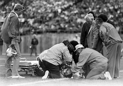 ** FILE ** New England Patriots wide receiver Darryl Stingley lies motionless on the field after colliding with Oakland's Jack Tatum, at Oakland Coliseum in Oakland, Calif., in this Aug. 12, 1978 file photo. (AP Photo)