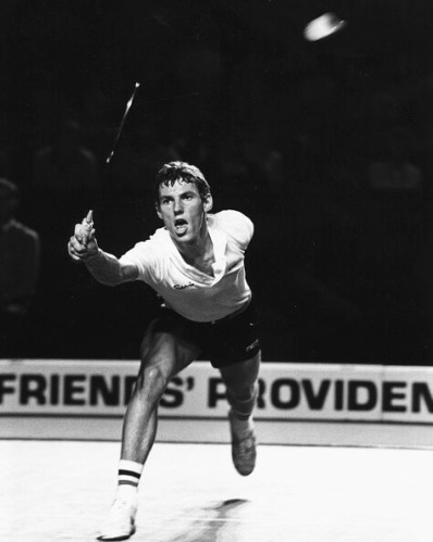 Danish badminton player Morten Frost Hansen in action, competing at the All England Badminton Championships, circa 1980. (Photo by Eileen Langsley/Popperfoto/Getty Images)