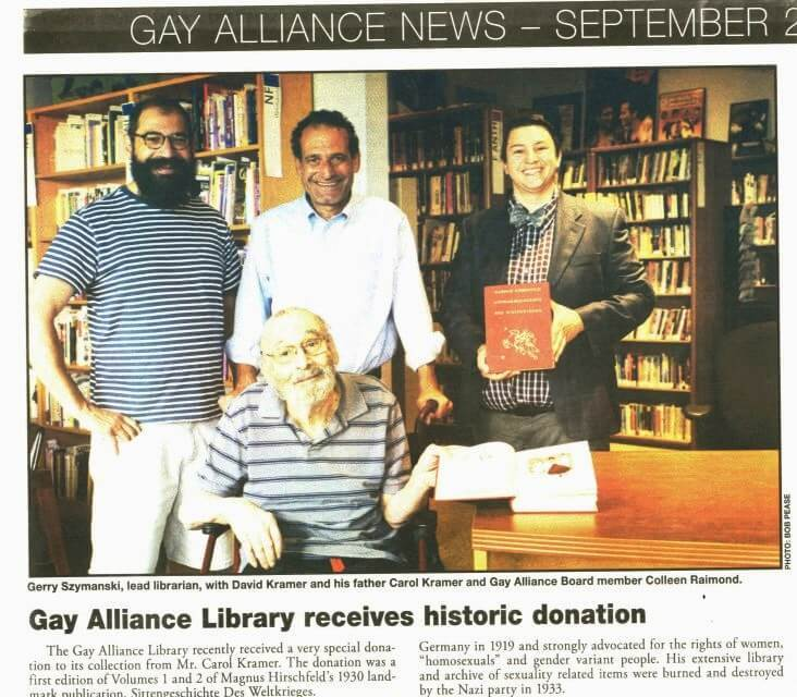 One of the largest LGBTQ libraries in the nation receives historic donation from EUGENE Kramer