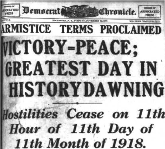 Rochester Democrat and Chronicle, Tues, November 12th, 1918, page 1