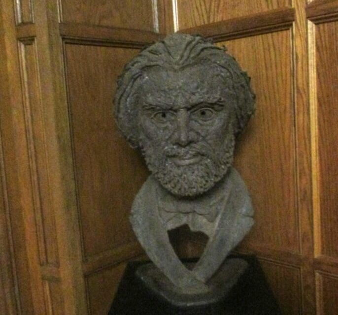 A bust of Frederick Douglass at the Colgate Rochester Crozer Divinity School