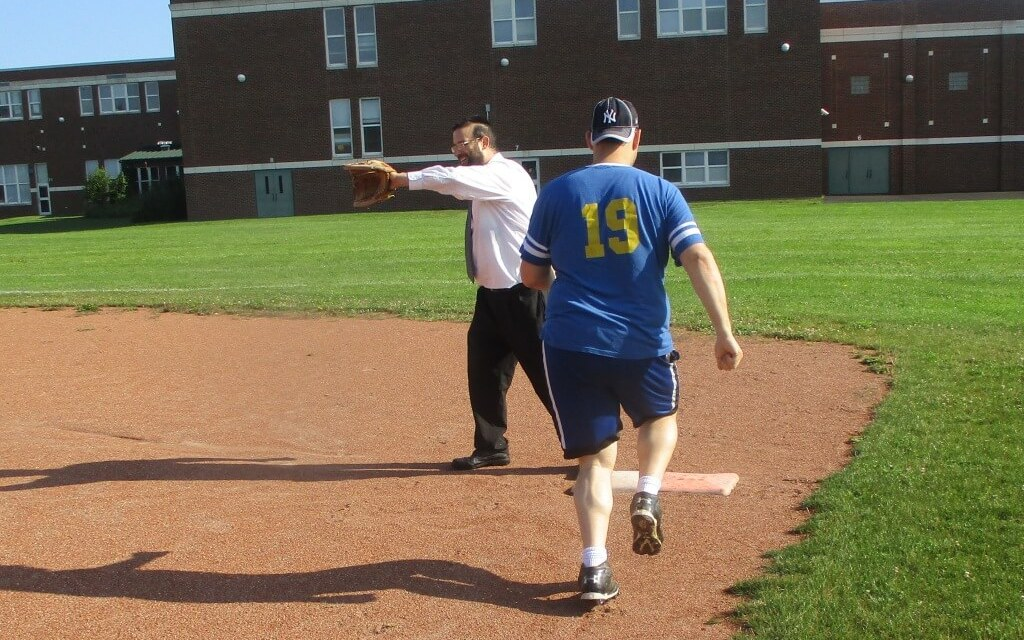 Who's on first at the Game at the Corners?  The Rabbi.