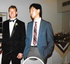 Two Fab Fivers, Alan Sun, right, with Phil Ghyzel at Dean Tucker's wedding, 1991. See A ribbon cutting and the Pages of the Brighton Memorial Library