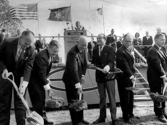 President Dwight D. Eisenhower and Bob Hope, center, take part in the September 1965 groundbreaking for Eisenhower College. Also pictured, from left, are John Rosenkrans, New York Gov. Nelson Rockefeller, Earl McGrath and Scott Skinner. (Photo: File photo 1965)