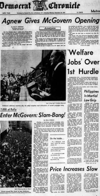 Democrat and Chronicle, 23 Sep 1972, Sat, Page 1
