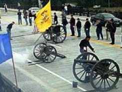 Civil War era cannons celebrating the opening of the O'Rorke Bridge.