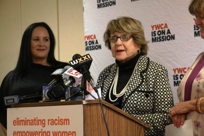 new Congresswoman Louise Slaughter discusses the Violence Against Women Act Thursday.