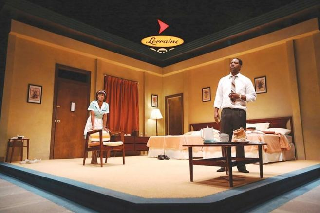 """PHOTO BY KEN HUTH - Joniece Abbott-Pratt and Royce - Johnson in a scene from """"The Mountaintop,"""" a drama about Martin Luther King - Jr.'s"""