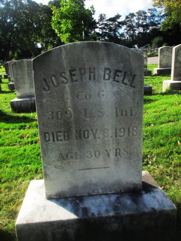 Grave in the World War I plot in Mt. Hope cemetery of the Rochestarian, Joseph Bell, who died the closest to the November 11th armistice. Rochestarian