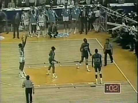 On the Hoyas' ensuing possession, Fred Brown passed the ball away to Worthy, who proceeded to run out some of the clock before being fouled.[47] Because the Hoyas were in the double bonus, Worthy received two free throw attempts, both of which he missed. Floyd got the rebound and attempted a last second shot that also missed