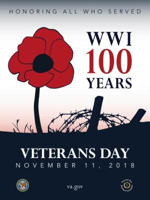 2018 Veterans Administration poster showing the correct spelling of Veterans Day