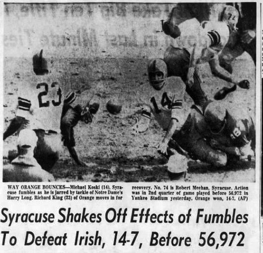 At Yankee Stadium, Notre Dame avenges 1961 defeat to Syracuse six days after JFK was assassinated