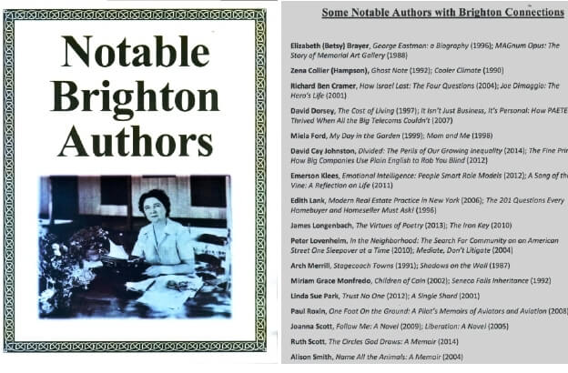 """""""Notable Brighton Authors"""" from . (left) Shirley Jackson. The list of author is only partial. [Held at and scanned courtesy of the Brighton Memorial Library]"""