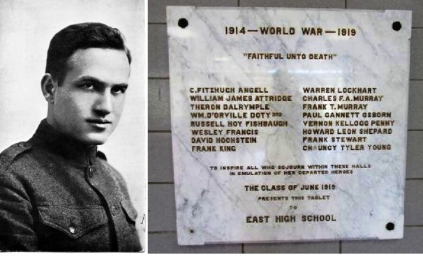 (L) David Hochstein in uniform; (R) Plaque in the lobby of East High School