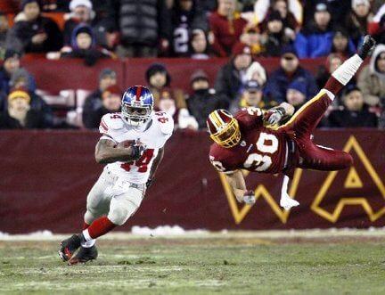 NY Giants clobber hapless Washington Redskins, 45-12, on Monday Night Football. Dec 21, 2009 (NJ.com)