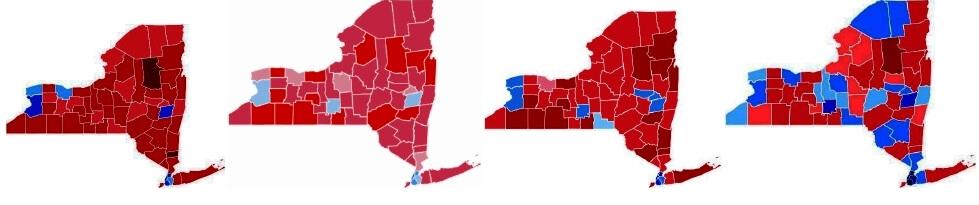 (left to right) in 1980 vs. Mondale (l); in 1984 vs. Ferraro (w); in 1988 vs. Dukakis (w); in 1992 vs. Clinton (l)